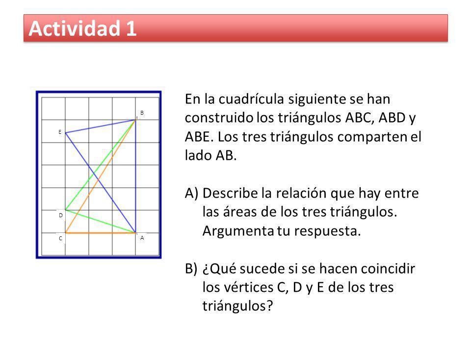 Actividad 1 En la cuadrícula siguiente se han construido los triángulos ABC, ABD y ABE. Los tres triángulos comparten el lado AB. A)Describe la relaci