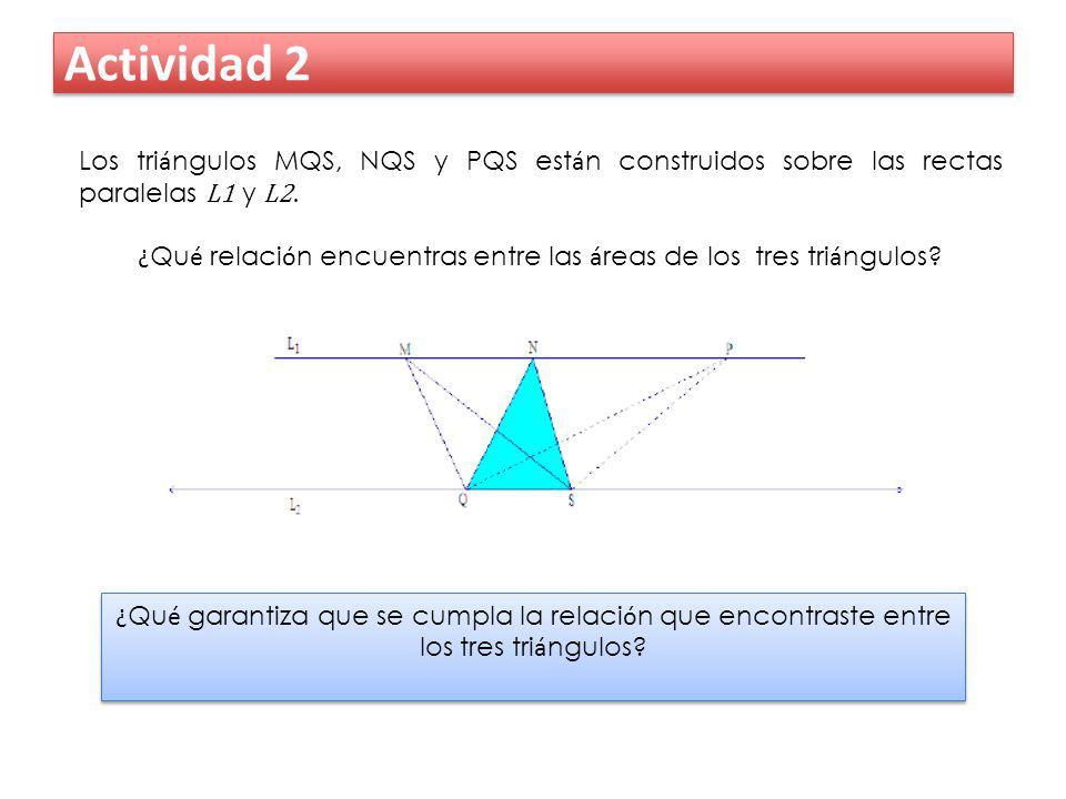 Actividad 2 Los tri á ngulos MQS, NQS y PQS est á n construidos sobre las rectas paralelas L1 y L2. ¿ Qu é relaci ó n encuentras entre las á reas de l