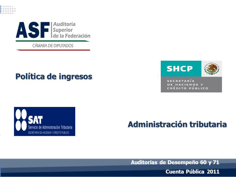 Política de ingresos Cuenta Pública 2011 Administración tributaria Auditorías de Desempeño 60 y 71