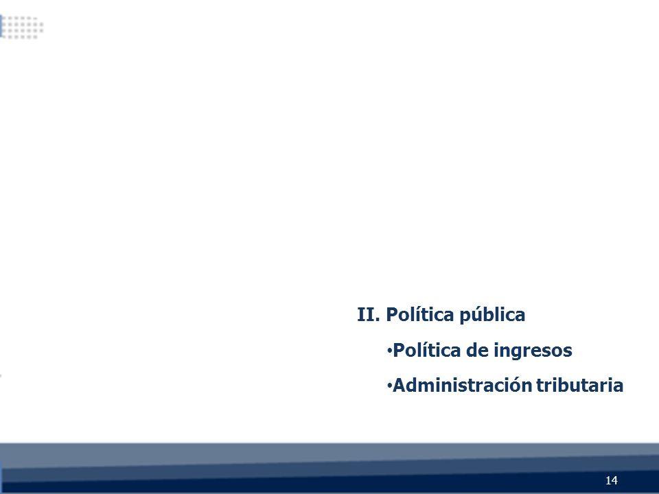 II. Política pública Política de ingresos Administración tributaria 14