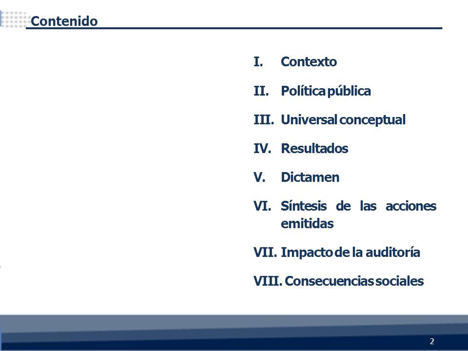 I.Contexto II.Política pública III.Universal conceptual IV.Resultados V.Dictamen VI.Síntesis de las acciones emitidas VII.Impacto de la auditoría VIII