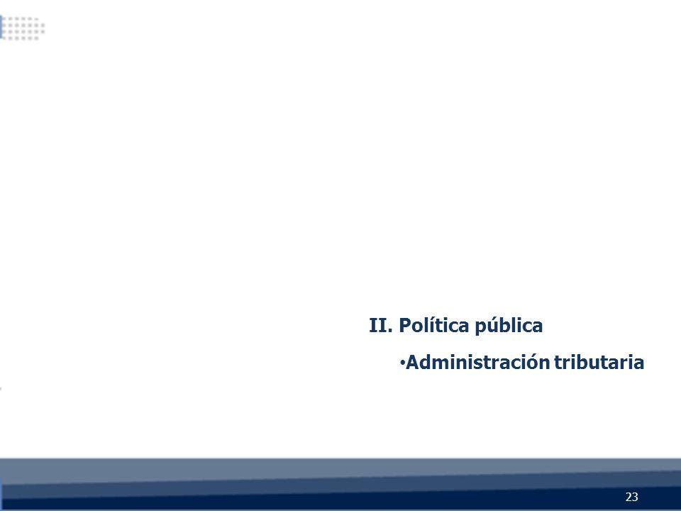 23 II. Política pública Administración tributaria