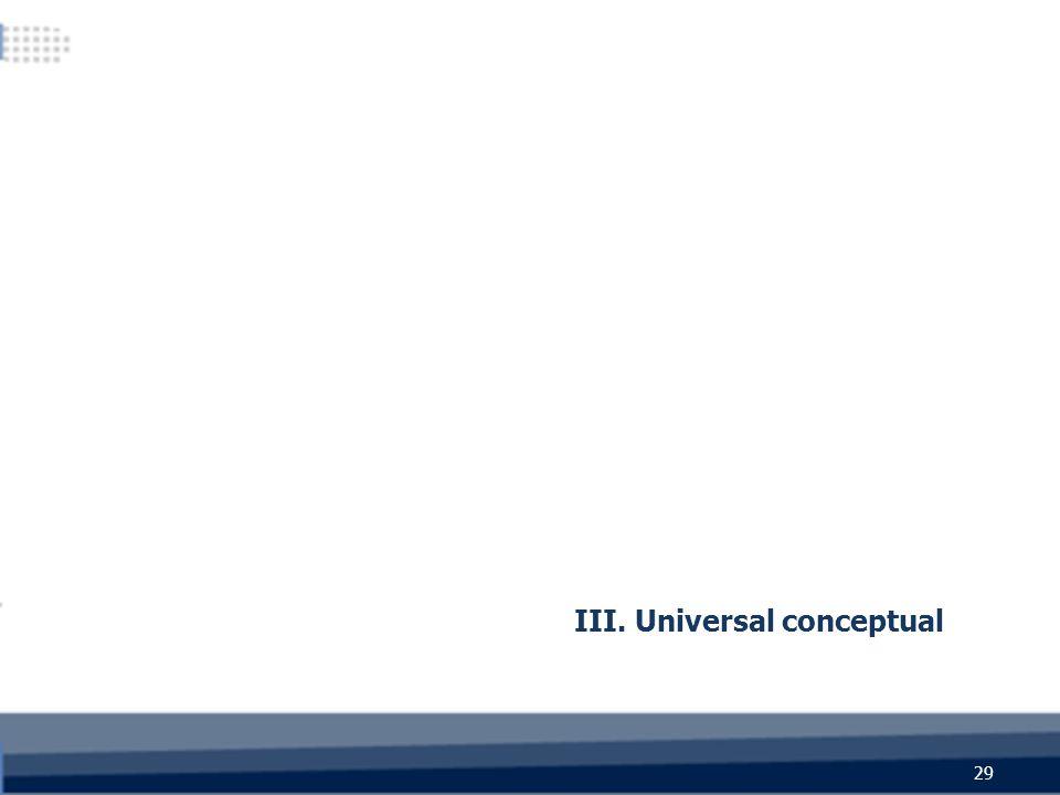 III. Universal conceptual 29