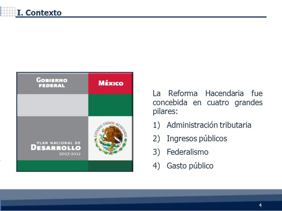 La Reforma Hacendaria fue concebida en cuatro grandes pilares: 1)Administración tributaria 2)Ingresos públicos 3)Federalismo 4)Gasto público I. Contex