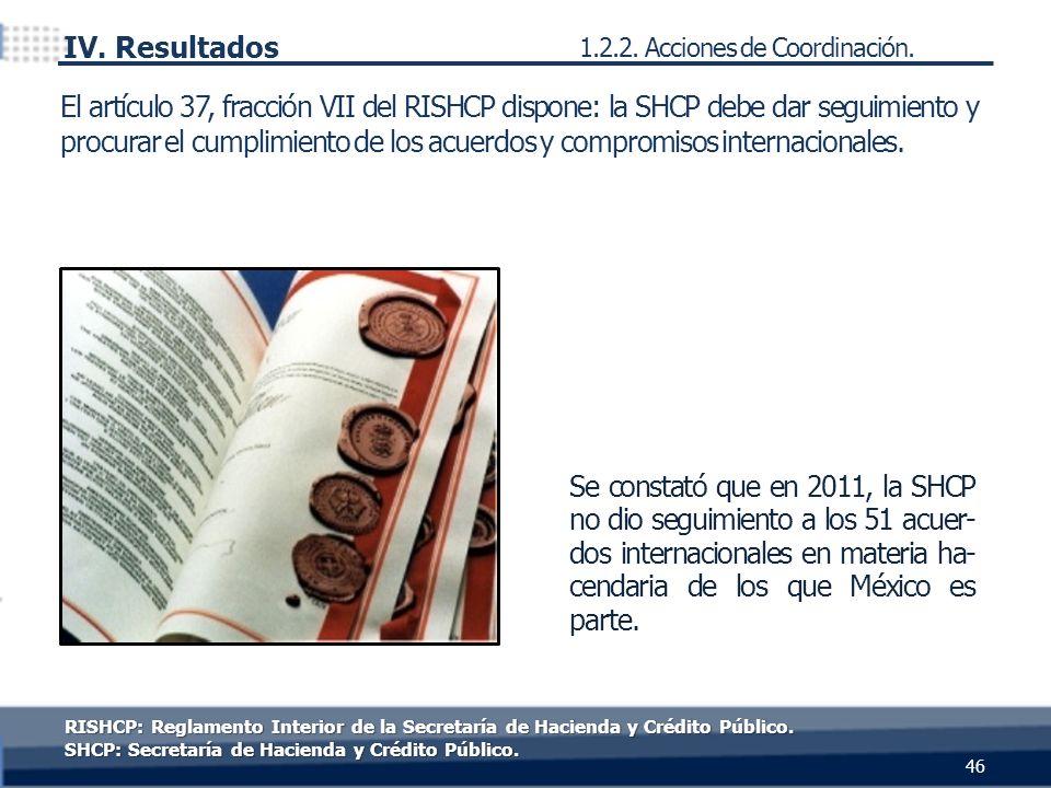 Se constató que en 2011, la SHCP no dio seguimiento a los 51 acuer- dos internacionales en materia ha- cendaria de los que México es parte. El artícul