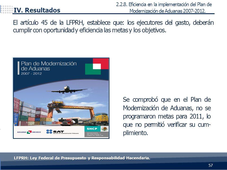 Se comprobó que en el Plan de Modernización de Aduanas, no se programaron metas para 2011, lo que no permitió verificar su cum- plimiento. 2.2.8. Efic