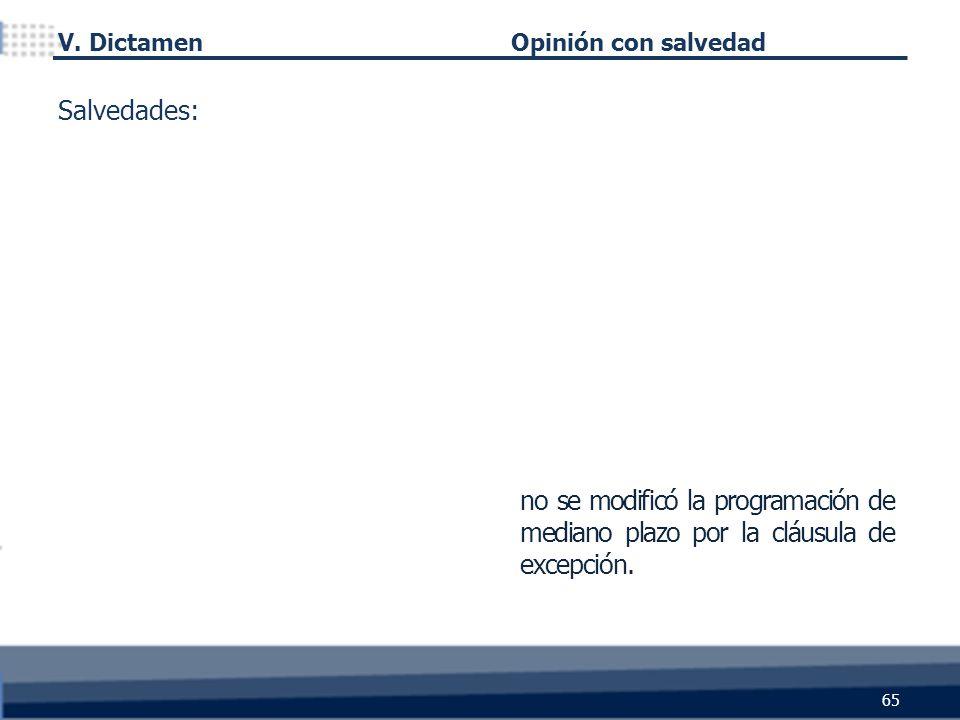 no se modificó la programación de mediano plazo por la cláusula de excepción. 65 Salvedades: Opinión con salvedad V. Dictamen