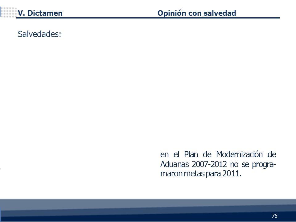 75 Opinión con salvedad en el Plan de Modernización de Aduanas 2007-2012 no se progra- maron metas para 2011. Salvedades: V. Dictamen