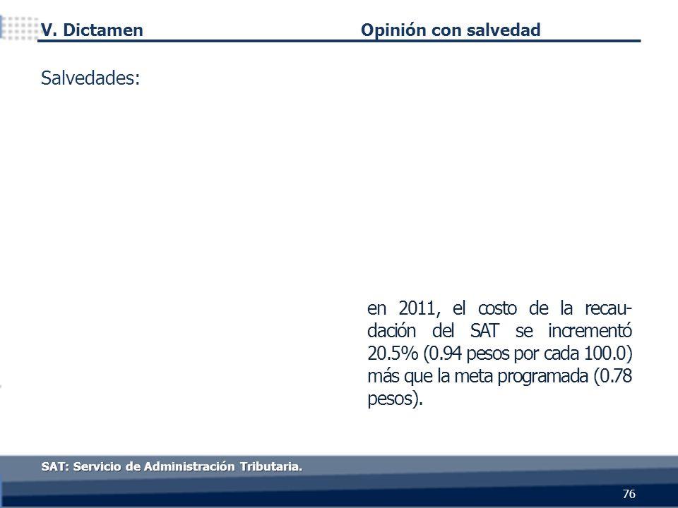76 SAT: Servicio de Administración Tributaria. Opinión con salvedad en 2011, el costo de la recau- dación del SAT se incrementó 20.5% (0.94 pesos por