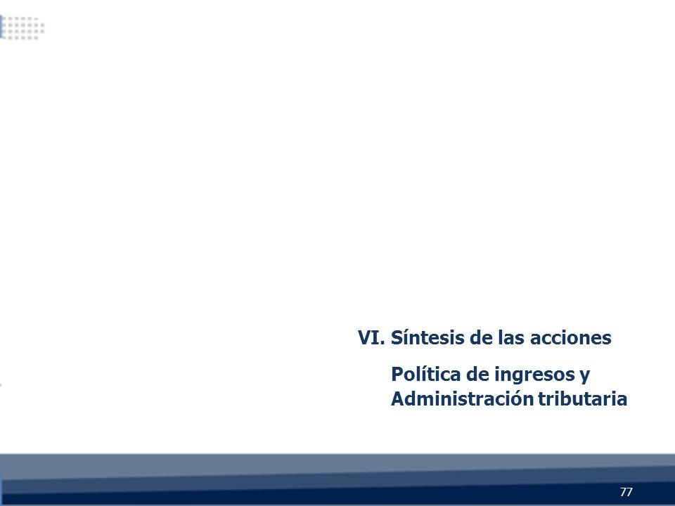 VI. Síntesis de las acciones Política de ingresos y Administración tributaria 77