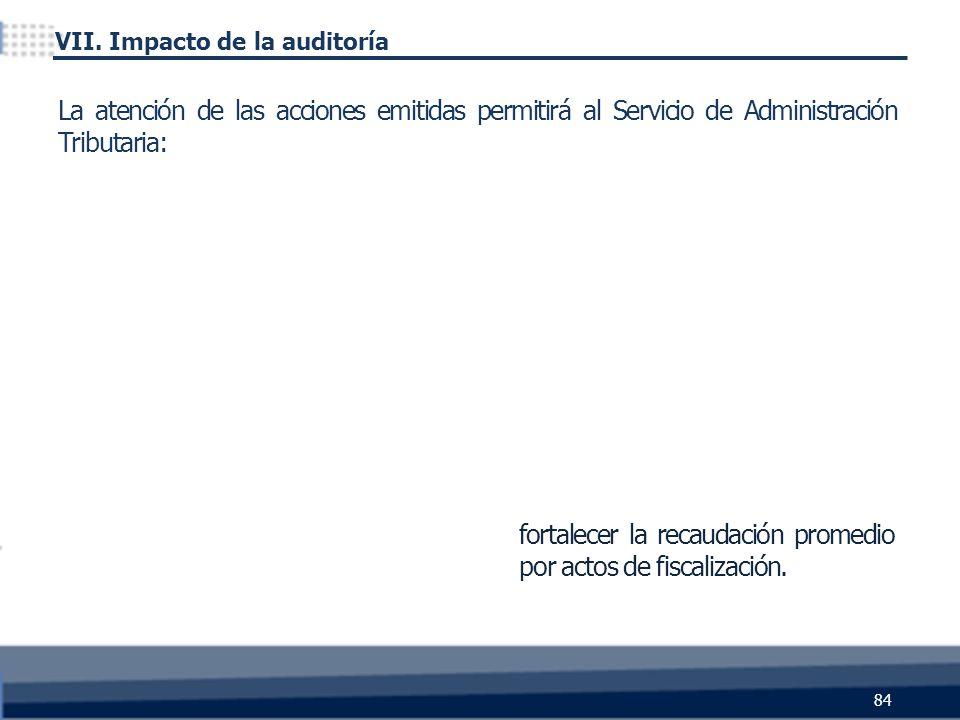 fortalecer la recaudación promedio por actos de fiscalización. 84 La atención de las acciones emitidas permitirá al Servicio de Administración Tributa
