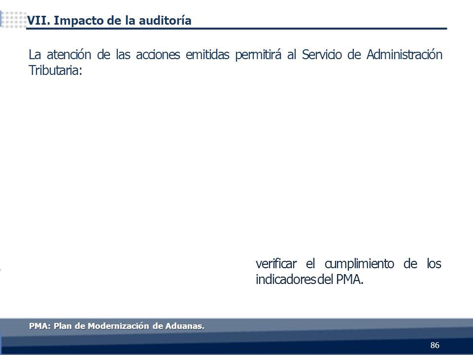 verificar el cumplimiento de los indicadores del PMA. 86 La atención de las acciones emitidas permitirá al Servicio de Administración Tributaria: PMA: