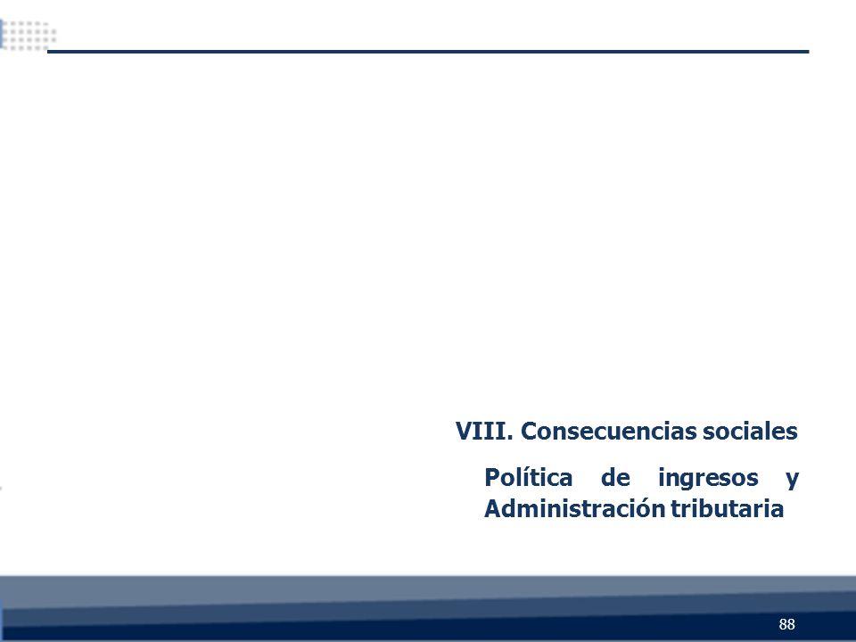 88 VIII. Consecuencias sociales Política de ingresos y Administración tributaria
