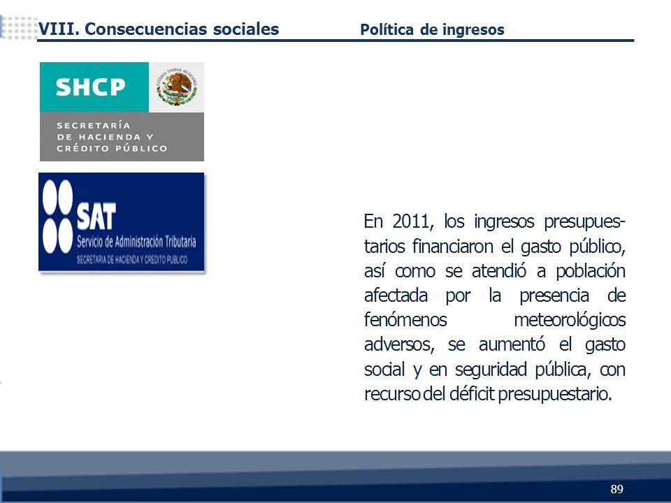 89 En 2011, los ingresos presupues- tarios financiaron el gasto público, así como se atendió a población afectada por la presencia de fenómenos meteorológicos adversos, se aumentó el gasto social y en seguridad pública, con recurso del déficit presupuestario.