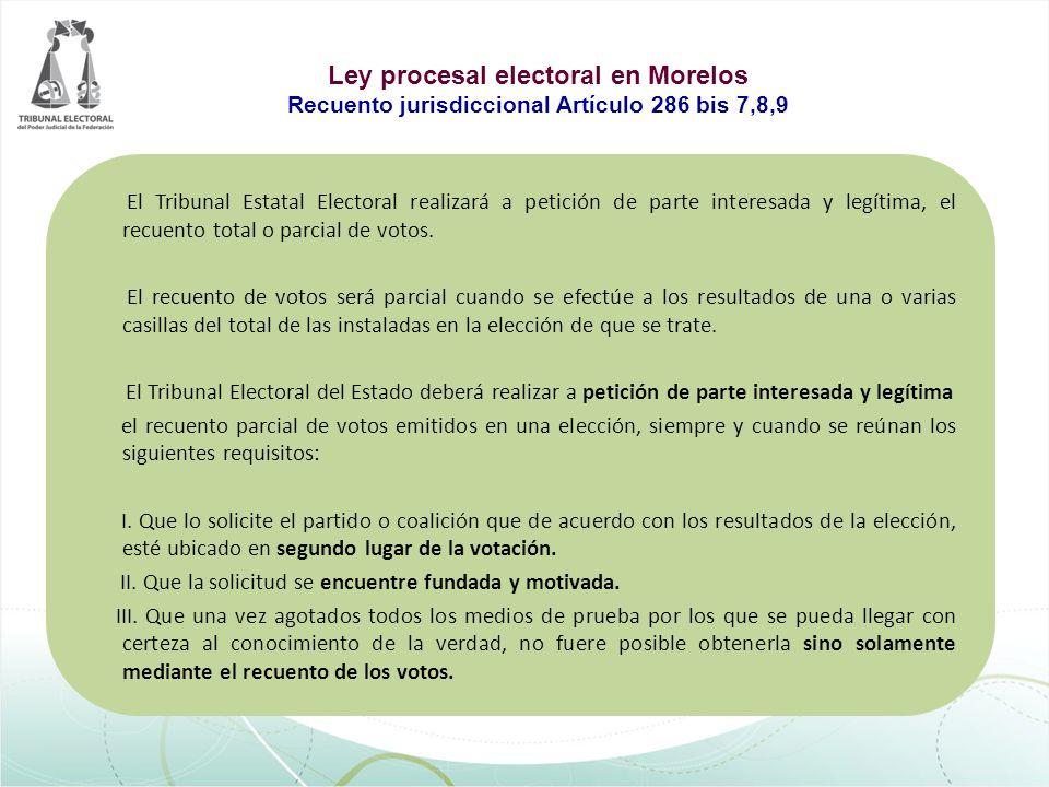 El Tribunal Estatal Electoral realizará a petición de parte interesada y legítima, el recuento total o parcial de votos. El recuento de votos será par