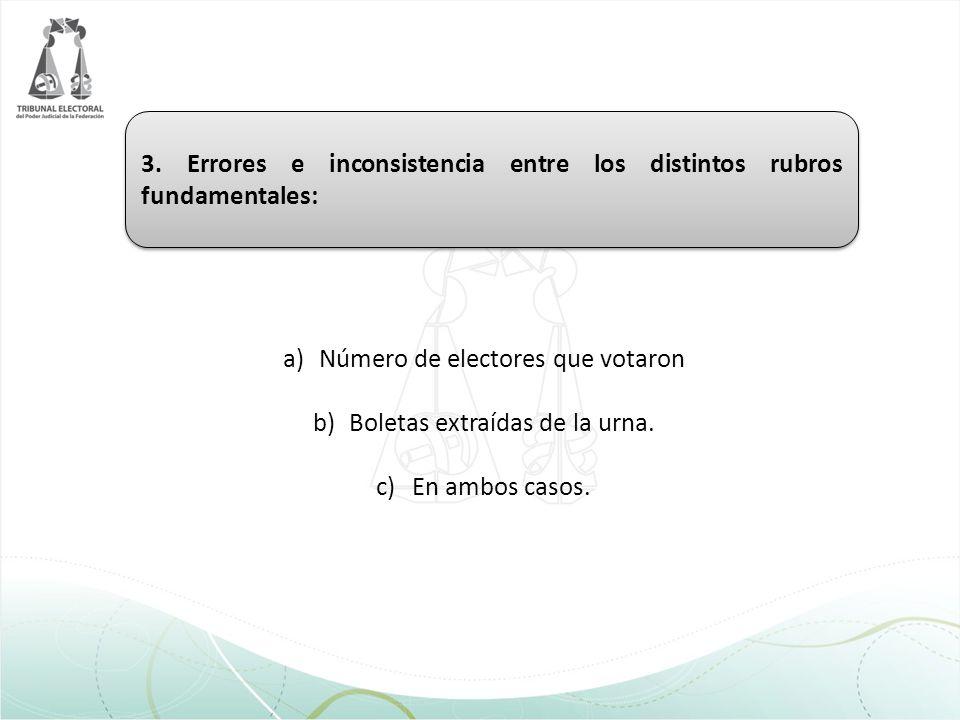 3. Errores e inconsistencia entre los distintos rubros fundamentales: a)Número de electores que votaron b)Boletas extraídas de la urna. c)En ambos cas