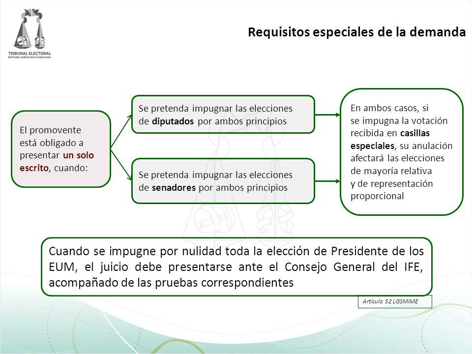 Cuando se impugne por nulidad toda la elección de Presidente de los EUM, el juicio debe presentarse ante el Consejo General del IFE, acompañado de las