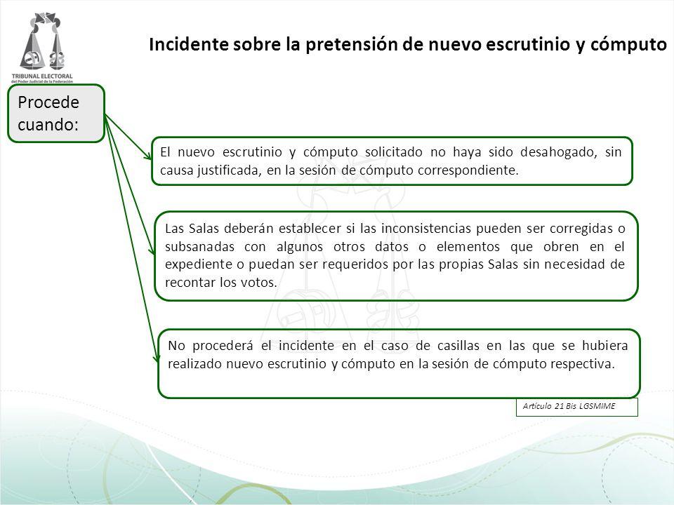 Incidente sobre la pretensión de nuevo escrutinio y cómputo Procede cuando: El nuevo escrutinio y cómputo solicitado no haya sido desahogado, sin caus