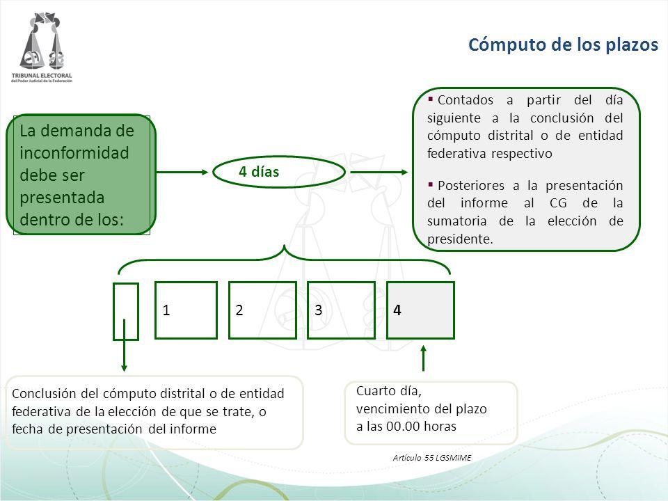 Cómputo de los plazos Contados a partir del día siguiente a la conclusión del cómputo distrital o de entidad federativa respectivo Posteriores a la pr