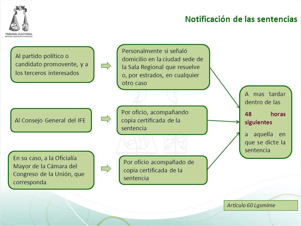 Notificación de las sentencias Personalmente si señaló domicilio en la ciudad sede de la Sala Regional que resuelve o, por estrados, en cualquier otro