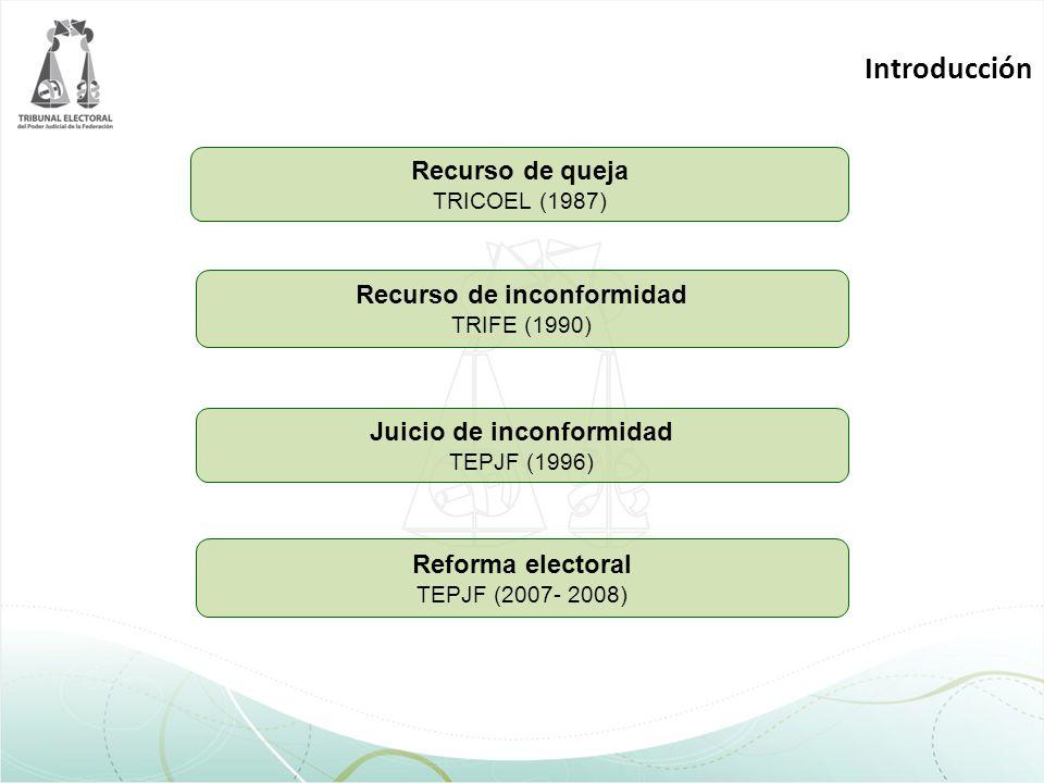 Introducción Recurso de queja TRICOEL (1987) Recurso de inconformidad TRIFE (1990) Juicio de inconformidad TEPJF (1996) Reforma electoral TEPJF (2007-