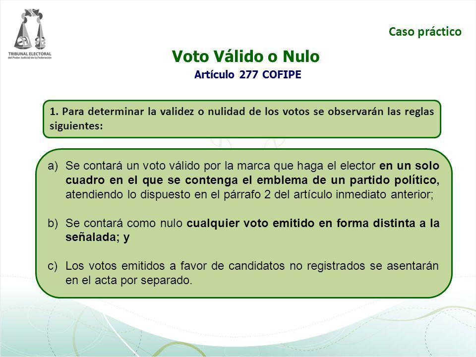 Voto Válido o Nulo Artículo 277 COFIPE Caso práctico 1. Para determinar la validez o nulidad de los votos se observarán las reglas siguientes: a)Se co