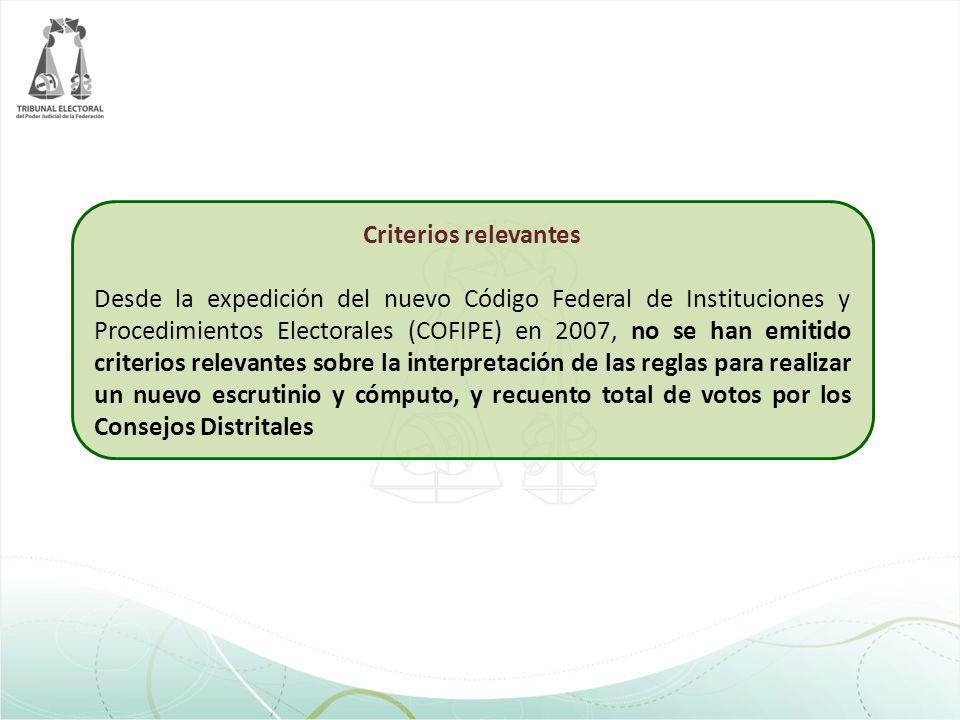 Criterios relevantes Desde la expedición del nuevo Código Federal de Instituciones y Procedimientos Electorales (COFIPE) en 2007, no se han emitido cr