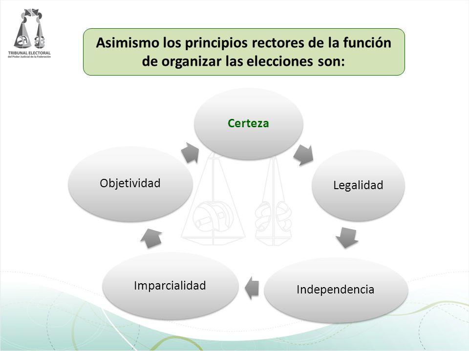Asimismo los principios rectores de la función de organizar las elecciones son: CertezaLegalidad Independencia Imparcialidad Objetividad