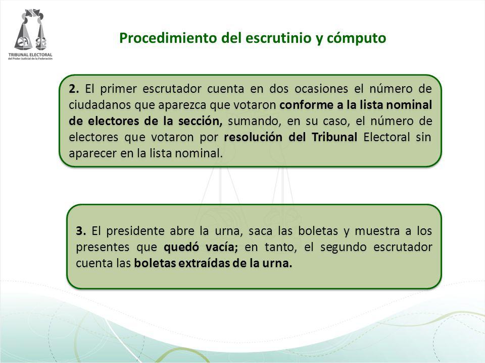 2. El primer escrutador cuenta en dos ocasiones el número de ciudadanos que aparezca que votaron conforme a la lista nominal de electores de la secció