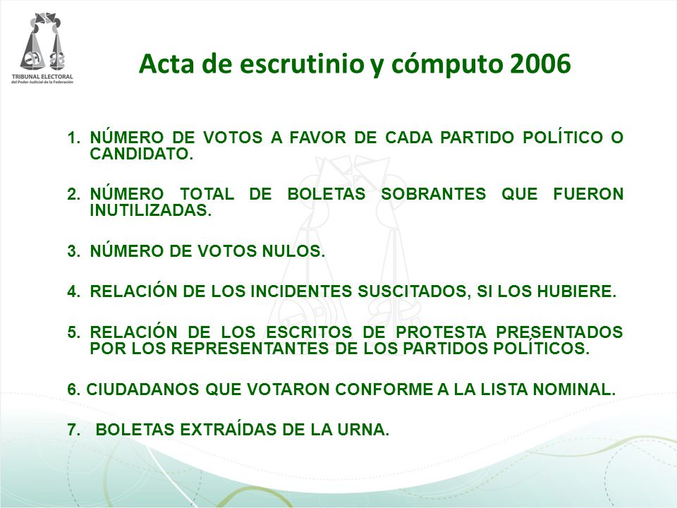 1.NÚMERO DE VOTOS A FAVOR DE CADA PARTIDO POLÍTICO O CANDIDATO. 2.NÚMERO TOTAL DE BOLETAS SOBRANTES QUE FUERON INUTILIZADAS. 3.NÚMERO DE VOTOS NULOS.