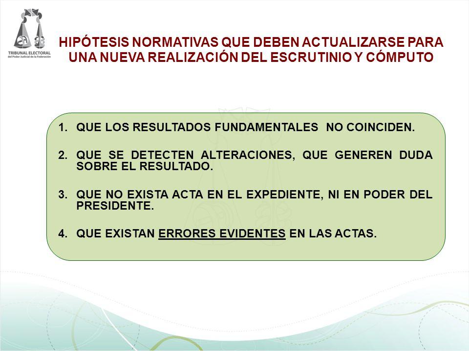 1.QUE LOS RESULTADOS FUNDAMENTALES NO COINCIDEN. 2.QUE SE DETECTEN ALTERACIONES, QUE GENEREN DUDA SOBRE EL RESULTADO. 3.QUE NO EXISTA ACTA EN EL EXPED