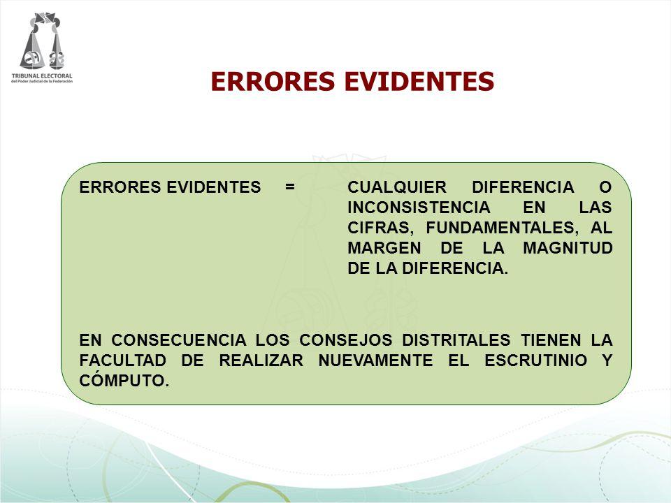 ERRORES EVIDENTES =CUALQUIER DIFERENCIA O INCONSISTENCIA EN LAS CIFRAS, FUNDAMENTALES, AL MARGEN DE LA MAGNITUD DE LA DIFERENCIA. EN CONSECUENCIA LOS