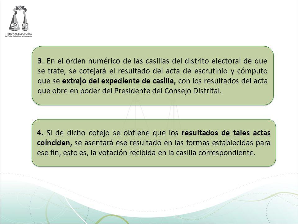 3. En el orden numérico de las casillas del distrito electoral de que se trate, se cotejará el resultado del acta de escrutinio y cómputo que se extra