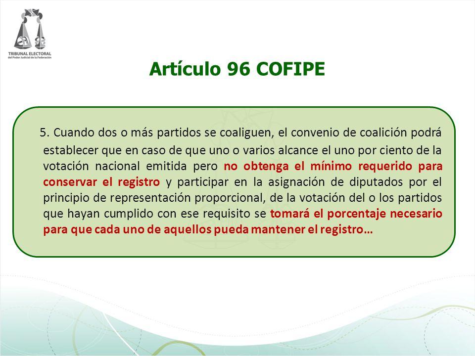 Artículo 96 COFIPE 5. Cuando dos o más partidos se coaliguen, el convenio de coalición podrá establecer que en caso de que uno o varios alcance el uno