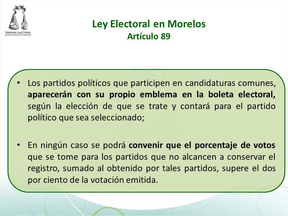 Ley Electoral en Morelos Artículo 89 Los partidos políticos que participen en candidaturas comunes, aparecerán con su propio emblema en la boleta elec