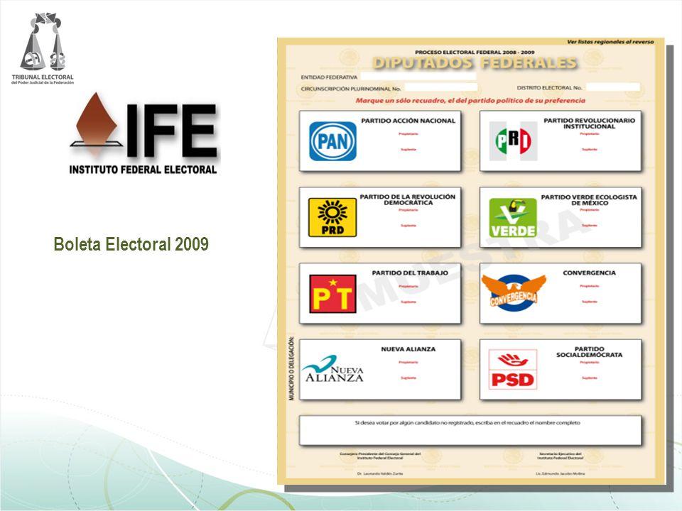 O R G A N I Z A C I Ó N E L E C T O R A L Boleta Electoral 2009