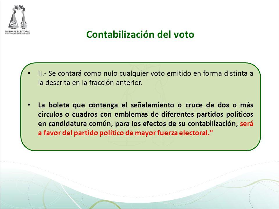 Contabilización del voto II.- Se contará como nulo cualquier voto emitido en forma distinta a la descrita en la fracción anterior. La boleta que conte