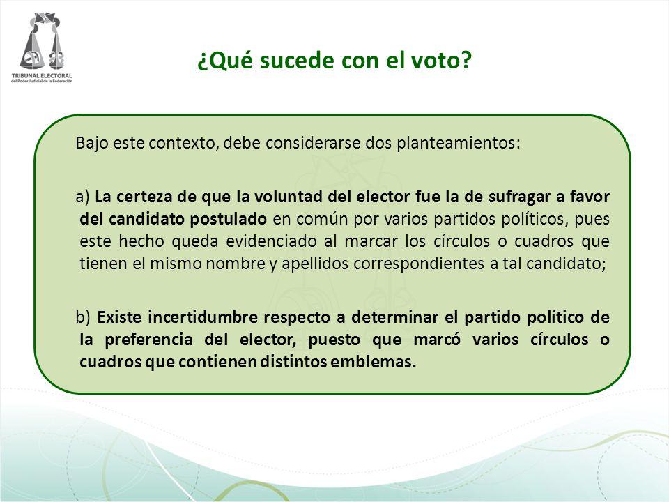 ¿Qué sucede con el voto? Bajo este contexto, debe considerarse dos planteamientos: a) La certeza de que la voluntad del elector fue la de sufragar a f