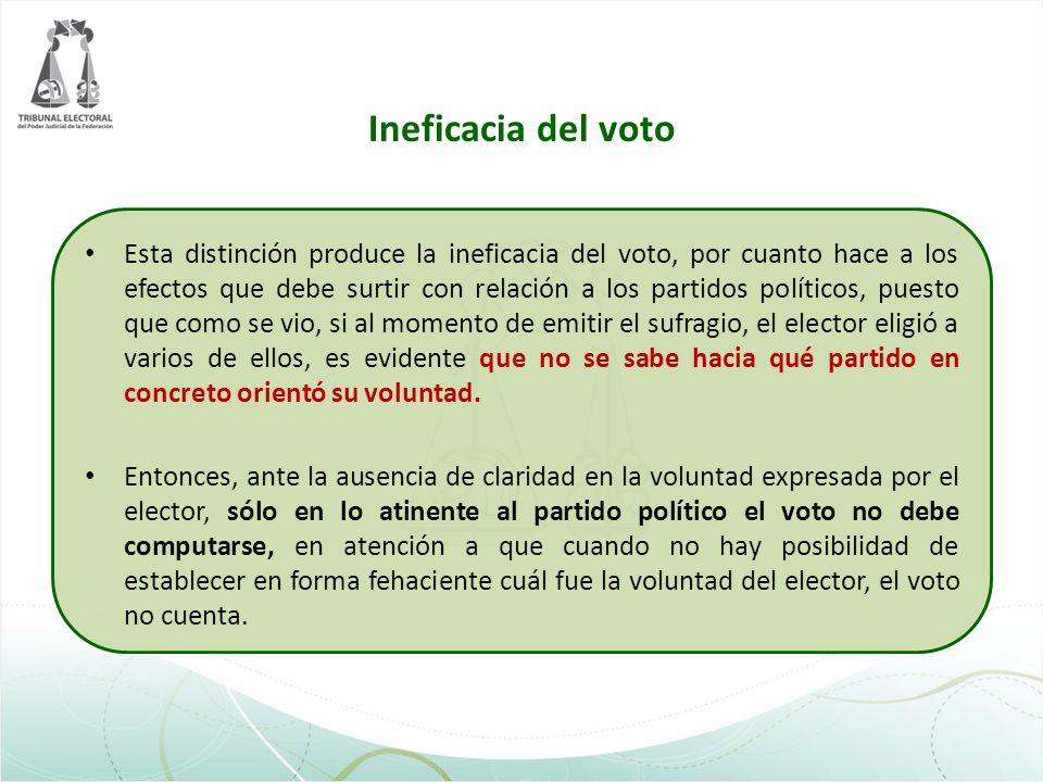 Ineficacia del voto Esta distinción produce la ineficacia del voto, por cuanto hace a los efectos que debe surtir con relación a los partidos político