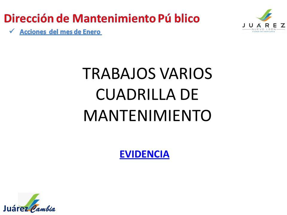TRABAJOS VARIOS CUADRILLA DE MANTENIMIENTO Juárez Cambia EVIDENCIA