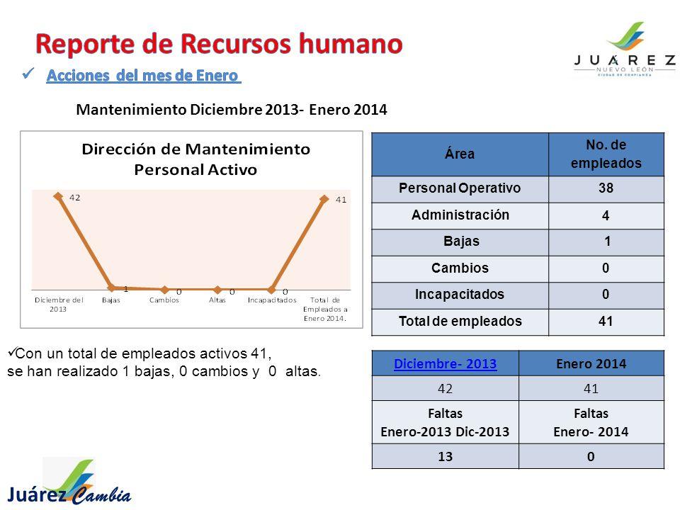 Con un total de empleados activos 41, se han realizado 1 bajas, 0 cambios y 0 altas.