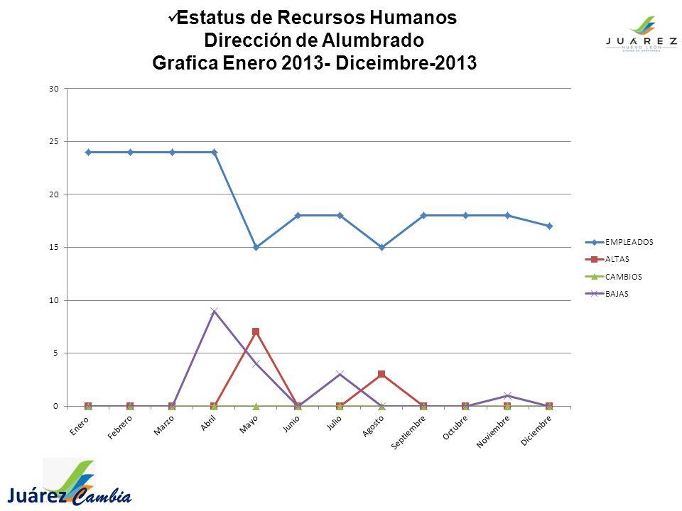 Juárez Cambia Estatus de Recursos Humanos Dirección de Alumbrado Grafica Enero 2013- Diceimbre-2013