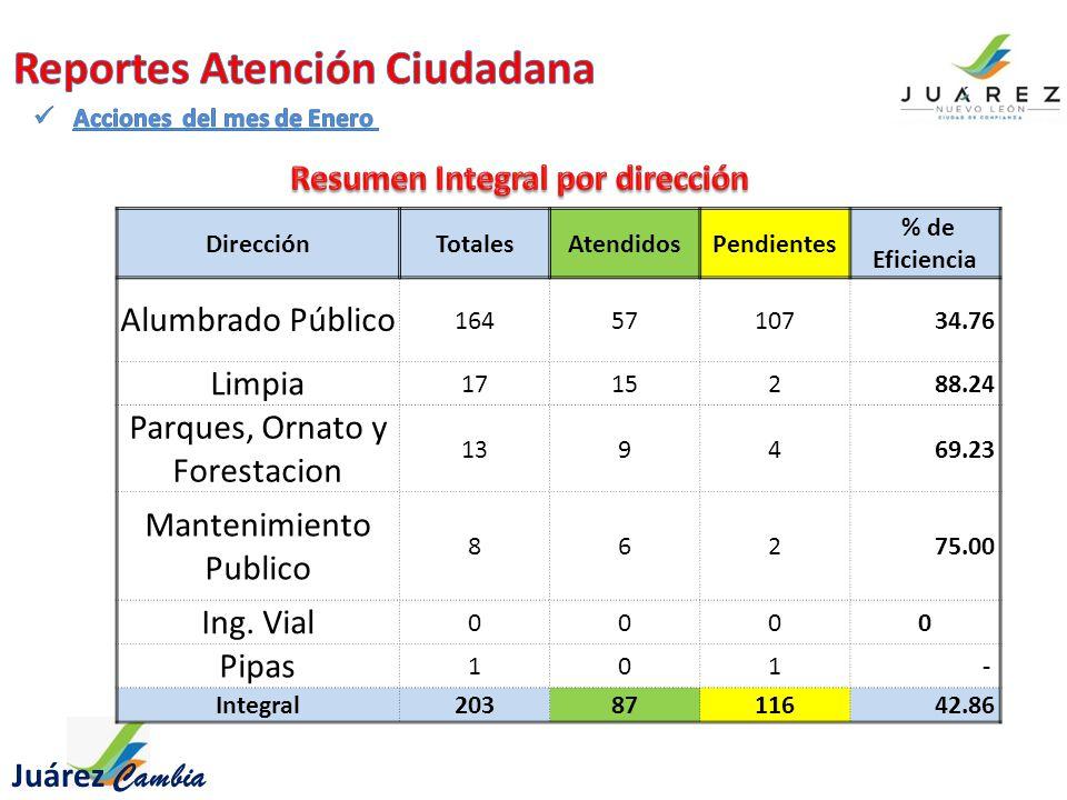 Juárez Cambia DirecciónTotalesAtendidosPendientes % de Eficiencia Alumbrado Público 16457107 34.76 Limpia 17152 88.24 Parques, Ornato y Forestacion 1394 69.23 Mantenimiento Publico 862 75.00 Ing.