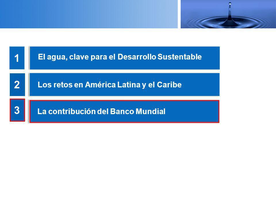El agua, clave para el Desarrollo Sustentable 1 2 3 Los retos en América Latina y el Caribe La contribución del Banco Mundial