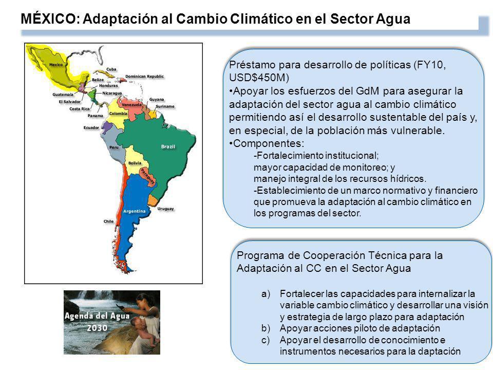 MÉXICO: Adaptación al Cambio Climático en el Sector Agua Préstamo para desarrollo de políticas (FY10, USD$450M) Apoyar los esfuerzos del GdM para asegurar la adaptación del sector agua al cambio climático permitiendo así el desarrollo sustentable del país y, en especial, de la población más vulnerable.