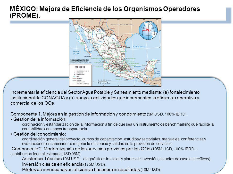 MÉXICO: Mejora de Eficiencia de los Organismos Operadores (PROME). Incrementar la eficiencia del Sector Agua Potable y Saneamiento mediante: (a) forta