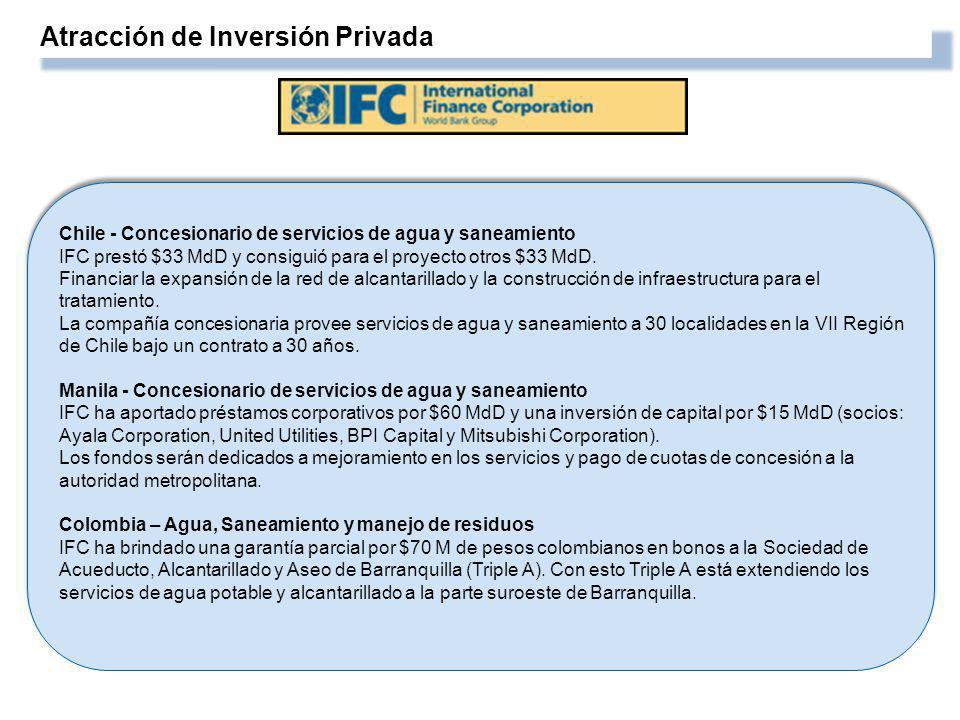 Atracción de Inversión Privada Chile - Concesionario de servicios de agua y saneamiento IFC prestó $33 MdD y consiguió para el proyecto otros $33 MdD.