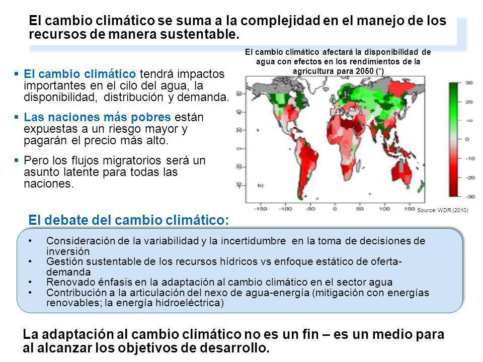 4. Climate change adds to the complexity of managing resources in a sustainable way El cambio climático tendrá impactos importantes en el cilo del agu