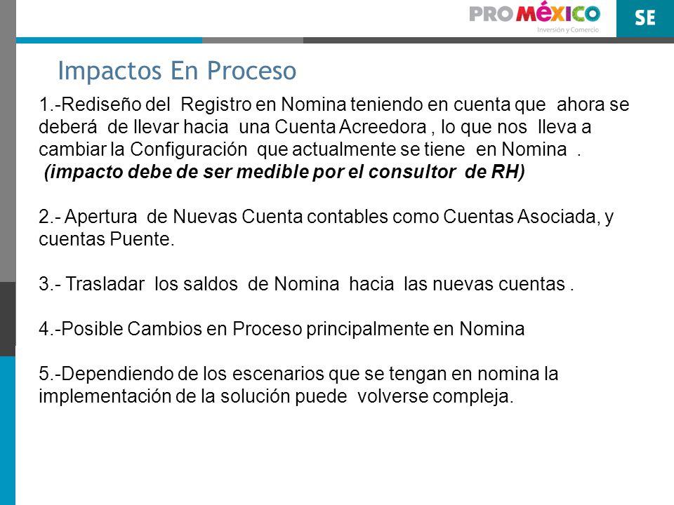 Impactos En Proceso 1.-Rediseño del Registro en Nomina teniendo en cuenta que ahora se deberá de llevar hacia una Cuenta Acreedora, lo que nos lleva a cambiar la Configuración que actualmente se tiene en Nomina.