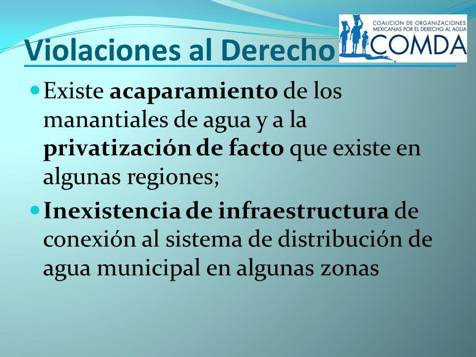 Violaciones al Derecho Existe acaparamiento de los manantiales de agua y a la privatización de facto que existe en algunas regiones; Inexistencia de infraestructura de conexión al sistema de distribución de agua municipal en algunas zonas